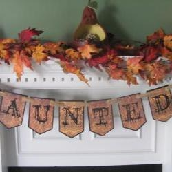 "Victorian ""Haunted"" Halloween Banner featuring Gothic Styled Lettering"